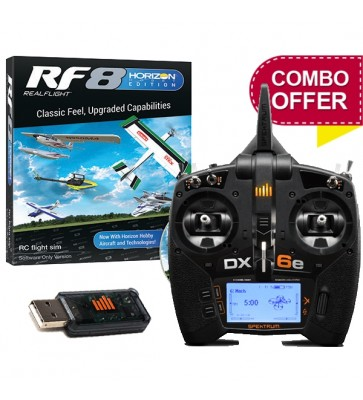 RealFlight RF8 Horizon Hobby Edition, Software + WS1000 USB Dongle + Spektrum DX6e Combo Package