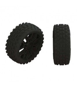 ARRMA 2HO Tire Set Glued, Black (2)