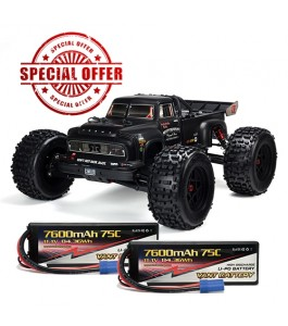 ARRMA 1/8 NOTORIOUS 6S BLX 4WD Brushless Classic Stunt Truck with Spektrum RTR, Black