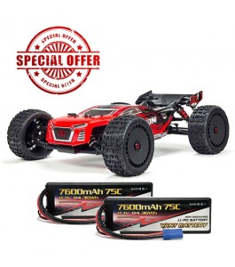 ARRMA 1/8 TALION 6S BLX 4WD Brushless Sport Performance Truggy RTR, Red/Black